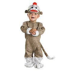 Two of Three Options for Cy's 1st Halloween!!!Sock Monkey Halloween Costume; 12-18M