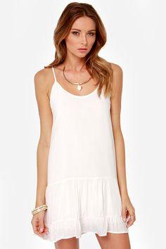 Did I Flutter? Ivory Babydoll Dress at LuLus.com!