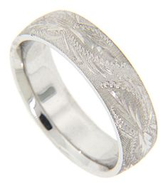 Intricate engraved designs overlay Florentine finish on this 14K white gold antique style men's wedding band. The ring measures 6.1mm in width. Size: 10. Cannot be re-sized, but we can reorder the ring in any size and in white gold, yellow gold, platinum or palladium. Price will vary depending on metal and size. Current cost as shown in white gold is Groom Ring, Gold Platinum, Love Ring, Style Men, Diamond Are A Girls Best Friend, Wedding Bands, Vintage Style, White Gold