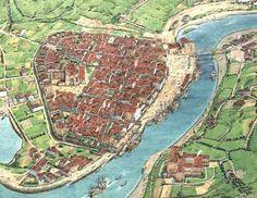Bilbao. siglo XVI Fantasy City Map, Fantasy Castle, Medieval Fantasy, Fantasy World, Bilbao, Historical Architecture, Ancient Architecture, City Maps, Birds Eye View