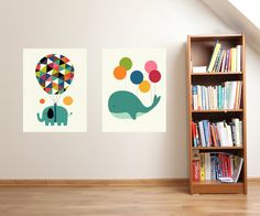 Elephant wall decal set A5-A0 large poster set whale poster