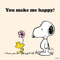 You Make Me Happy - Woodstock Handing Snoopy A Flower, Radiserne, Peanuts, cartoon, toon, love