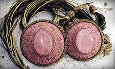 """Купить Комплект """"Камень нежной любви"""" - розовый, розовый кварц, узор, обрамление, камень натуральный"""