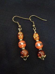 Gold Orange and Amber Dangle Earrings Glass by UneekGreenGifts, $10.00