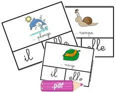 Cartes à pinces il/elle French Kids, French Classroom, Teacher Hacks, Learn French, Interactive Notebooks, Literacy Centers, Homeschool, Playing Cards, Teaching