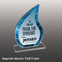 Stock Shaped Full Color Acrylic Awards - Small Thank You Sponsors, Custom Trophies, Acrylic Awards, Corporate Gifts, Shapes, Color, Promotional Giveaways, Colour, Colors