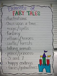 "fairy tales unit- for TC Genre unit switch title to ""traditional literature features"" Teaching Language Arts, Teaching Writing, Fairy Tales Unit, Reading Anchor Charts, Library Lessons, Reading Workshop, Lesson Plans, Second Grade, Grade 2"