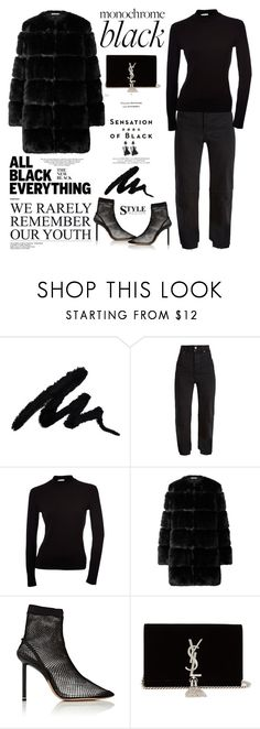 """""""Mission Monochrome: All-Black Outfit"""" by violet-peach ❤ liked on Polyvore featuring Vision, Vetements, Givenchy, Alexander Wang, Yves Saint Laurent and allblackoutfit"""
