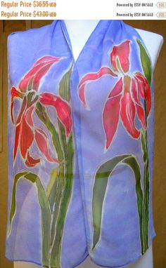 """#GIFT Beautiful Periwinkle Blue SILK SCARF handpainted """"Hudson Valley Lily"""" w/bright  pink lilies #SALE"""
