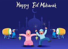 Eid Mubarak Vector, Eid Mubarak Card, Eid Mubarak Greeting Cards, Eid Cards, Eid Mubarak Greetings, Happy Eid Mubarak, Couple Cartoon Characters, Eid Moon, Bride And Groom Cartoon