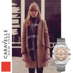 Katie is wearing our Silver-Tone 45L143, coming to stores this spring! #SpringFashion #StreetStyle #Caravelle #LFW #NYC