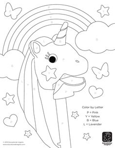 Color by letter + unicorns = magical amounts of fun. Check out even more activities on our blog, and don't forget to upload your own colored works of art!