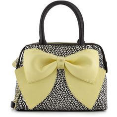 Betsey Johnson Ready Set Bow Dot-Print Satchel Bag ($62) ❤ liked on Polyvore featuring bags, handbags, yellow, satchel purse, yellow satchel, yellow purse, bow handbag and handbag satchel