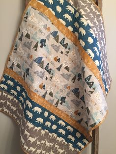 Woodland mountain adventure baby quilt, baby boy bedding, buck antlers bear deer stag elk, teal gold gray grey, woodland nursery, toddler