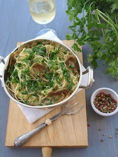 spaghetti con alcachofa