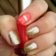 Love this color combo, I would do all the nails with the salmon and the stripe and on all gold