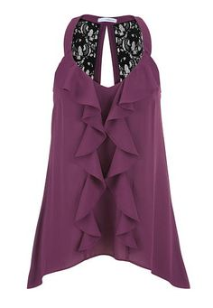 chiffon blouse with ruffle front and lace (original price, $29) available at #Maurices