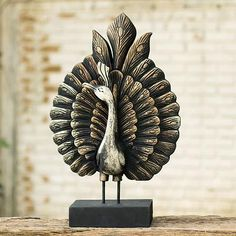 Peacock Looks Left Handcarved Wood Sculpture with Stand - Westbound Enchanted Peacock | NOVICA