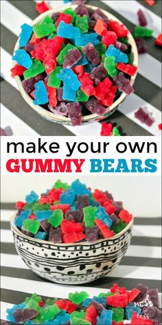 This gummy bears recipe allows you to make this sweet treat at home. Easy to mak - Unflavored Water - Ideas of Unflavored Water - This gummy bears recipe allows you to make this sweet treat at home. Easy to make with just a few ingredients. Best Gummy Bears, Sour Gummy Bears, Making Gummy Bears, Homemade Gummy Bears, Homemade Gummies, Homemade Candies, Gummy Bear Recipe With Jello, Gummy Bear Flavors, Gummies Recipe Jello