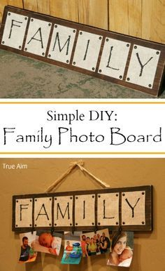 Simple diy photo board project - Great for Mother's Day!