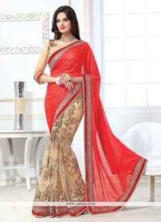 Style and design and pattern could be on the peak of your attractiveness once you dresses this red net designer saree. Beautified with embroidered and patch border work all synchronized properly throu...
