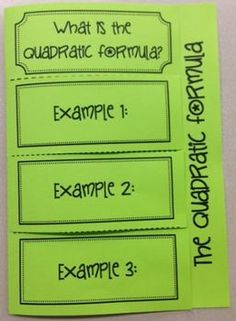 The Quadratic Formula (Foldable) for Algebra 1