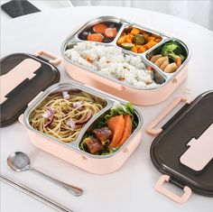 Stainless Steel Thermal Insulated Lunch Box Bento Food Container For Women Kids Bento Recipes, Gourmet Recipes, Healthy Recipes, Beste Lunchbox, Stainless Steel Bento Box, Stainless Steel Lunch Containers, Lunch Box Containers, Food Storage Containers, Kawaii Bento