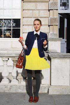 yellow and blue, ascot and tights so fall