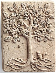 "Walnut TREE Happy SQUIRREL Cast Cement 4"" MINI WALL PLAQUE Nature Garden"