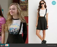 Maya's black overall skirt on Girl Meets World.  Outfit Details: http://wornontv.net/52926/ #GirlMeetsWorld