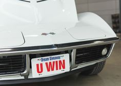 The front of the 1969 427 with our official Dream Giveaway U WIN license plate. What a gorgeous Vette!