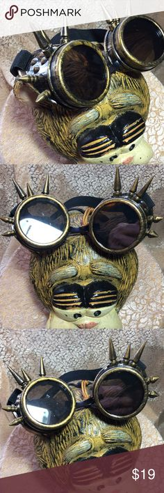 👀 'Peeper Keepers' Edgy Steampunk Goggles Hot New Cyber Retro Edgy Gothic Antique Gold Colored Riveted and Spiked Steampunk Goggles with High Impact Polycarbonate Ant-Fog Scratch Resistant Coated Lenses, Adjustable Double Buckle Adjustable Elastic Head Band, Ultra Light Quality.  Johnny Depp loves his!  Lol.  NWOT Accessories