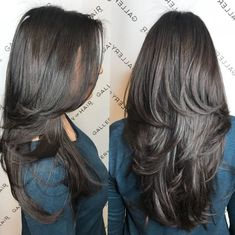 layered hair Long Thick Hair Cut with Medium Layers Round brushing is a styling technique for layered haircuts for long hair. Stylists wrap damp hair in these super-large round brush Haircuts For Long Hair With Layers, Long Layered Haircuts, Haircut For Thick Hair, Straight Hairstyles, Layered Hairstyles, Long Hair Short Layers, Thick Hair With Layers, Short Haircuts, Formal Hairstyles