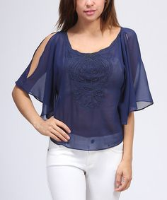 Take a look at this Navy Beaded Cape-Sleeve Top by FATE on #zulily today!