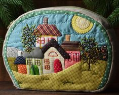 Quilted pouch for sale, Handmade quilted pouch, Pouch for women, Sewing gift Patchwork Bags, Quilted Bag, Handmade Fabric Bags, Bag Pattern Free, House Ornaments, Fabric Houses, Wool Applique, Quilt Making, Baby Quilts