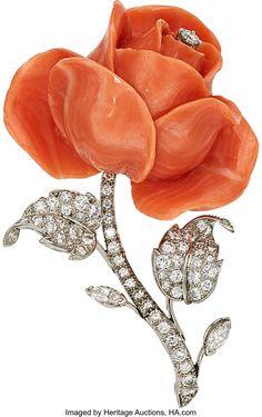 Coral, Diamond, Platinum Brooch