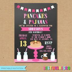 A personal favorite from my Etsy shop https://www.etsy.com/listing/274166388/pancakes-and-pajamas-birthday-invitation