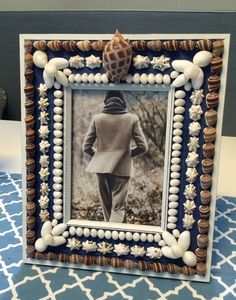 Blue and White Photo Frame