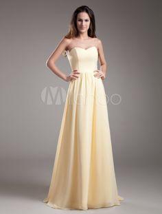 A-line Chiffon Sweep Daffodil Bridesmaid Dress with Sweetheart Neck - Milanoo.com