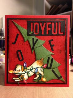Joyful Dog Steals Lights from Tree: Dees Distinctively, Sizzix Tim Holtz and Lawn Fawn dies and stamp