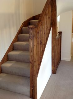 A neat flight of softwood double winder stairs leading to a loft conversion. Winder Stairs, Home Decor Pictures, Stairway, Staircases, Attic, Pine, Bedroom Ideas, Hardwood, Carpet