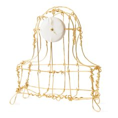 Gold-plated Copper Floating Frame Mantel Clock by Kiki van Eijk for Moss Gallery. $4200