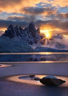 Sunrise behind mountains - Gorgeous landscaping