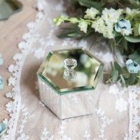 The natural light and reflection of gorgeous greenery hitting your mirrored table decor & trinkets can create such a beautiful effect... http://www.bluefizztentsandevents.co.uk/a-fine-romance-a-styled-shoot-at-pynes-house/