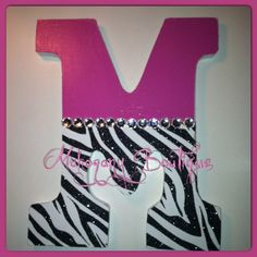 Zebra and pink Bedroom Ideas | Kids room ideas / Custom Decorated Wooden Letters -Pink/Zebra Print ...