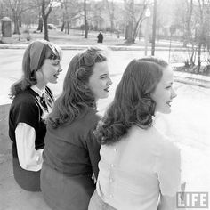 Three lovely, youthful hairstyles as seen in side profile. Image from life Magazine, late 1940s. #vintage #hair #hairstyles #1940s