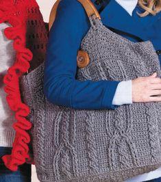 Love this crocheted bag! #RedHeart #yarn #grey