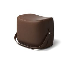 """Hermes ottoman with strap that makes it highly portable. L21.1"""" x H14.1"""" x W13.6"""". Storage area covered in chocolate leather.  Recalling the shape of a saddle, the ottoman offers small occasional seating and occasional storage. This piece is crafted in the style of fine leather goods and requires intricate craftsmanship."""