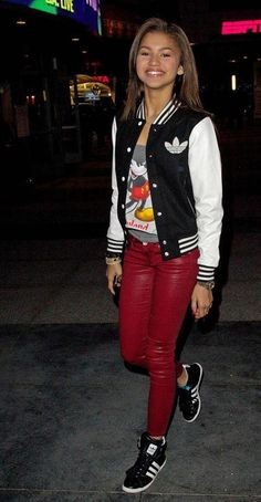 Adidas Sneakers. Adidas Jacket. Swag. Leather Pants. Urban Fashion. Hip Hop Fashion. Hip Hop Outfit. Dope. Urban Outfit. Zendaya Coleman Style