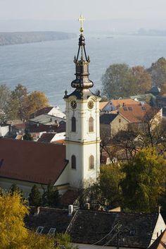 Orthodox Nikolajevska Church overlooking Danube River in historic precinct of Zemun, Outer Belgrade.